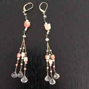 Gold , coral & pearl chandelier earrings